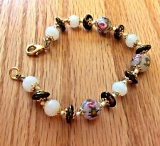 Beaded Bracelet Three Hand-painted Hand tied Not stretchy Gold/Purple/Pink/white