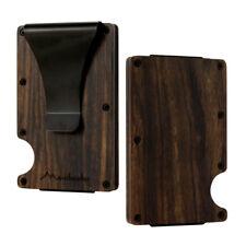 2018 New Wood Credit Card Holder Wooden Case Mini RFID Metal Wallet Money Clip