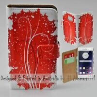 For OPPO Series - Red Grunge Theme Print Wallet Mobile Phone Case Cover