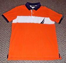 Vintage Nautica 100% Cotton Color Block Big Sailboat Logo Mens Polo Shirt Small