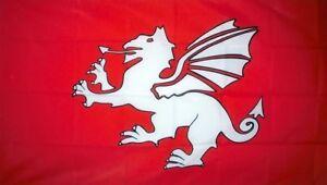 ENGLISH ANGLO SAXON WHITE DRAGON FLAG 5' x 3' England Wessex Medieval Pendragon