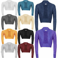 New Ladies Plain Long Sleeve Knitted Lurex Bolero Womens Shrug Cardigan Top