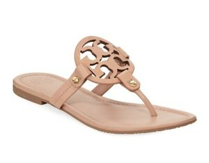 NIB Tory Burch Miller Thong Sandal Light MakeUp US 9 Leather 100% AUTHENTIC