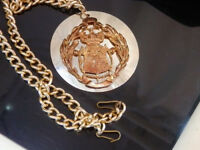 Celtic Bling Vintage 1980's Heraldry Medallion Long Chain Necklace  26408