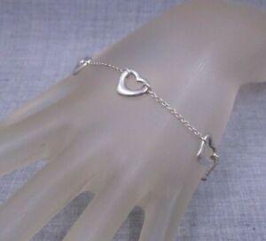 """TIFFANY & Co. Elsa Peretti Sterling .925 Five Open Heart Station Bracelet 7"""" *32"""