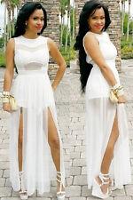 * Womens Dress White Ladies Sexy Maxi Tunic Shorts High Split Plus Size XXL  New