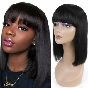 Human Hair Bob Wigs with Bangs Brazilian Straight Virgin Human Hair Wigs Bob Wig