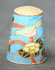 Vintage Chinese Cloisonne Thimble Bird and Flowers Design