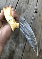 CUSTOM Handmade HAND FORGED DAMASCUS STEEL Hunting KNIFE Fix Blade Knife +Sheath