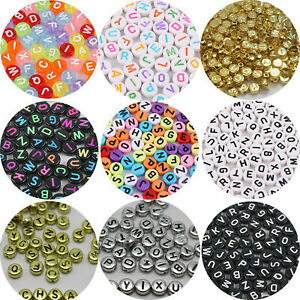 250 Assorted Acrylic Alphabet Letter Coin Beads 4X7mm Jewelry Craft Funny Beads