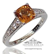 Certified 14KT White Gold 2.29tcw Yellow Natural Cushion Sapphire & Diamond Ring