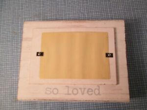 """White Distressed Wood Block Photo Frame """"So Loved"""" by Mud Pie, New"""