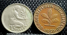 1950 Germany 50 & 10 Pfennig coin VF 2pcs (plus FREE 1 coin) #D2932