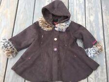 Girls Sz 2T CATIMINI Winter Hooded Brown Suede/fleece Jacket faux fur coat RARE