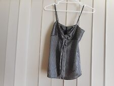 SPICY SUGAR TOP S SMART CASUALSPAGHETTI STRAPS BLACK,  LIGHT BRONZE STRIPES BOW