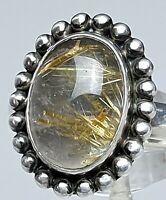 Vintage Silber Ring 80th - 925 Silber Rutilquarz Goldrutil - RG 59/18,8 mm A 699