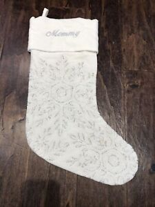 New Pottery Barn Embroidered Snowflake Crewel Cream Christmas Stocking *Mommy