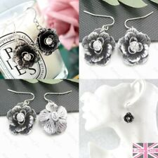 2cm BIG METAL FLOWER antique silver fashion EARRINGS vintage CRYSTAL rhinestone