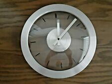 "Sterling & Noble Silver and Clear 12"" Round Wall Clock"