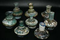 Lot Sale 8 Unique Ancient Roman Glass Multi Color Glass Lamps / Vessels Repaired