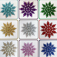 10Pcs Christmas Tree Window Ornament Glitter Snowflakes Xmas Party Hanging Decor