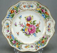 Carl Thieme Dresden Hand Painted Floral & Gold Reticulated Dinner Plate C
