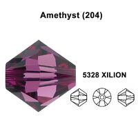 AMETHYST (204) purple Genuine Swarovski 5328 XILION Bicone Beads *All Sizes