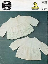 "Sirdar 3301 Vintage Baby Knitting Pattern Cardigans 3 ply 12-18"" prem - 6 months"