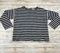 Eileen Fisher XS Black Striped Linen Cotton Sweater Top Button Back Boxy