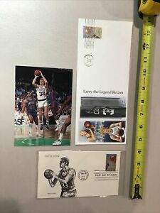 Larry Bird Boston Celtics 1991 & 1992 Stamped Envelopes & Postcard vs Detroit