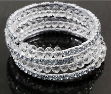Stretch Bracklet Beads Shine Rhinestone Diamante Bridal Wedding Party 5 Rows