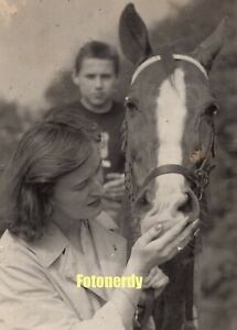 *Russian Girls* Vintage Soviet Russian Photo Young Woman Petting A Horse a1