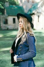 Women's Denim & Supply Ralph Lauren Women's Navy Blue Peplum Military Jacket S