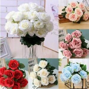 20 Heads SilkRose Artificial Flowers Bunch In Vase Bouquet Wedding Garden #E18