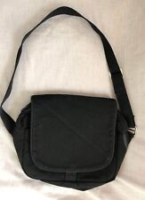 """Vintage Lands' End Black Cotton Canvas Crossbody Bag 11.5 x 8.5  x5"""" Made in USA"""