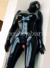 Pure Latex Rubber Fetish Catsuit Bodysuit Mask Suit Set Black Size XXS-XXL