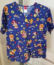 Disney Halloween Scrub Top Shirt Mickey Minnie Mouse Trick Or Treat Size Large