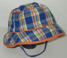 Baby Gap Plaid Sun Hat Chin Strap Baby Boy 18-24 Mon Blue Orange Bucket Hat