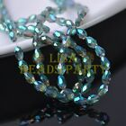 New 100pcs 6X4mm Teardrop Faceted Glass Crystal Loose Beads Green Colorized