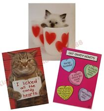 funny Valentine's Day Cards -set lot of 3- From The Cat- Mug Shot - assortment