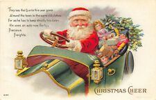 Christmas Red Suited Santa Claus Green Automobile Full of Toys Embossed Postcard