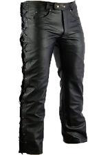 Hommes Disco Cuir Pantalon côté à lacets en haut Moto Moto Motard Jeans