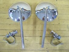 "Vintage Chrome NOS Motorcycle Scooter Mirrors 6"" TALL Cushman Vespa Lambretta"