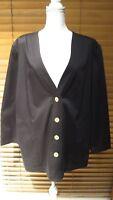 Travel Smith Women's Black Plus Size 1X Button Down Coat/Jacket/Blazer