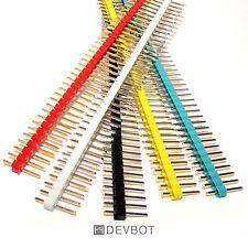 Kit 5 Barrettes de connexion 40Pin Mâle 5 couleurs sécable, 2,54mm. DIY, Arduino