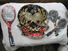 3 Sequined Tennis Club Medallion Pair of Rackets Raquets Applique Team Jacket