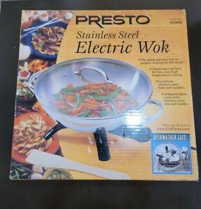 Presto 5900 1500-Watt Stainless-Steel Electric Wok New in Box Dish Washer Safe