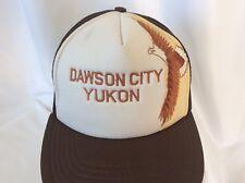 Vintage Dawson City Alaska Yukon Trucker Mesh Hat Cap Embroidered Eagle Snapback