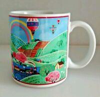 Otagiri Ceramic Coffee Mug Cup Balloons Rainbow Train Country Gibson Vtg