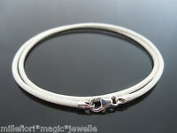 "2mm White Leather & 925 Sterling Silver Necklace Or Wristband 14"" 16"" 18"" 20"""